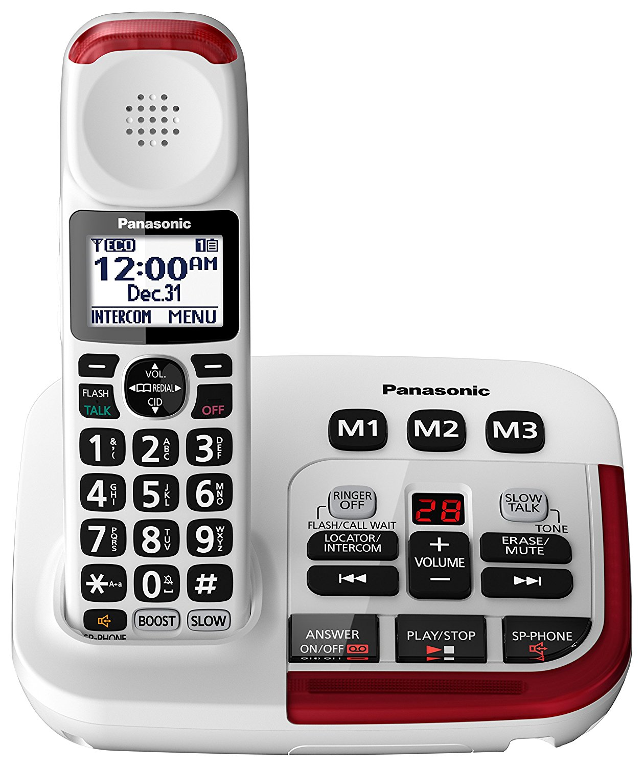 Panasonic Amplified Cordless Phone with Digital Answering Machine, 1 Handset, Up to 40 dB Volume