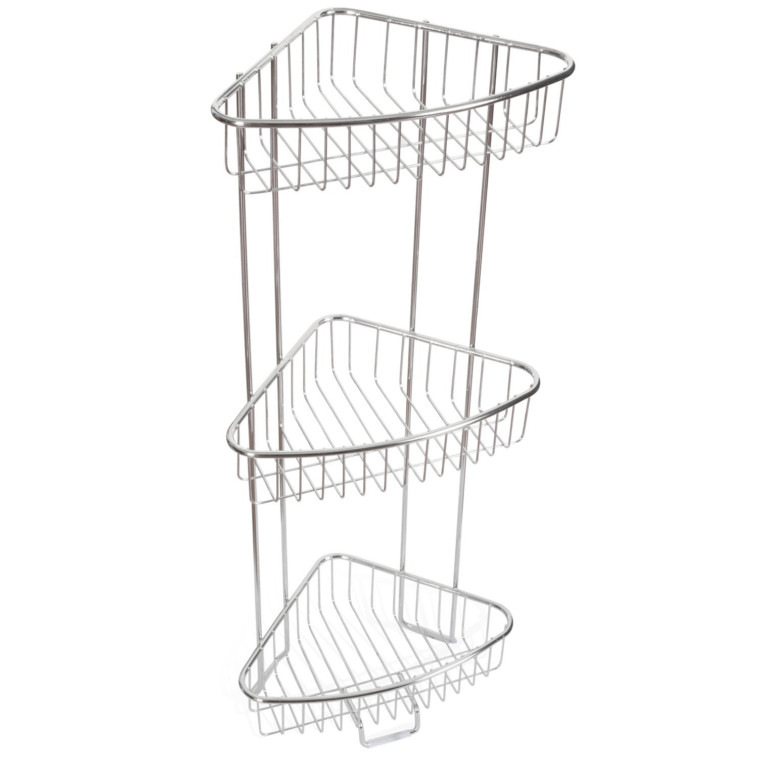 ToiletTree Products Shower Floor Caddy, Stainless Steel, Rust Free Guarantee, 3 Tier, 26 Inches Tall
