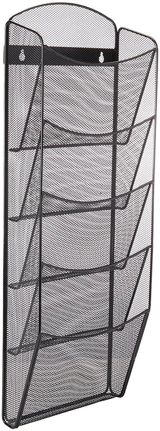 Safco Products Onyx Mesh Magazine Wall Rack with Wall Mounting Hardware Included