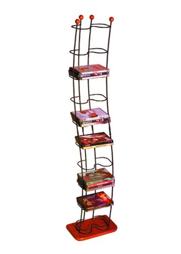 Atlantic Wave 74-DVD Wire Tower Made from Stainless Steel and Cherry Wood Base