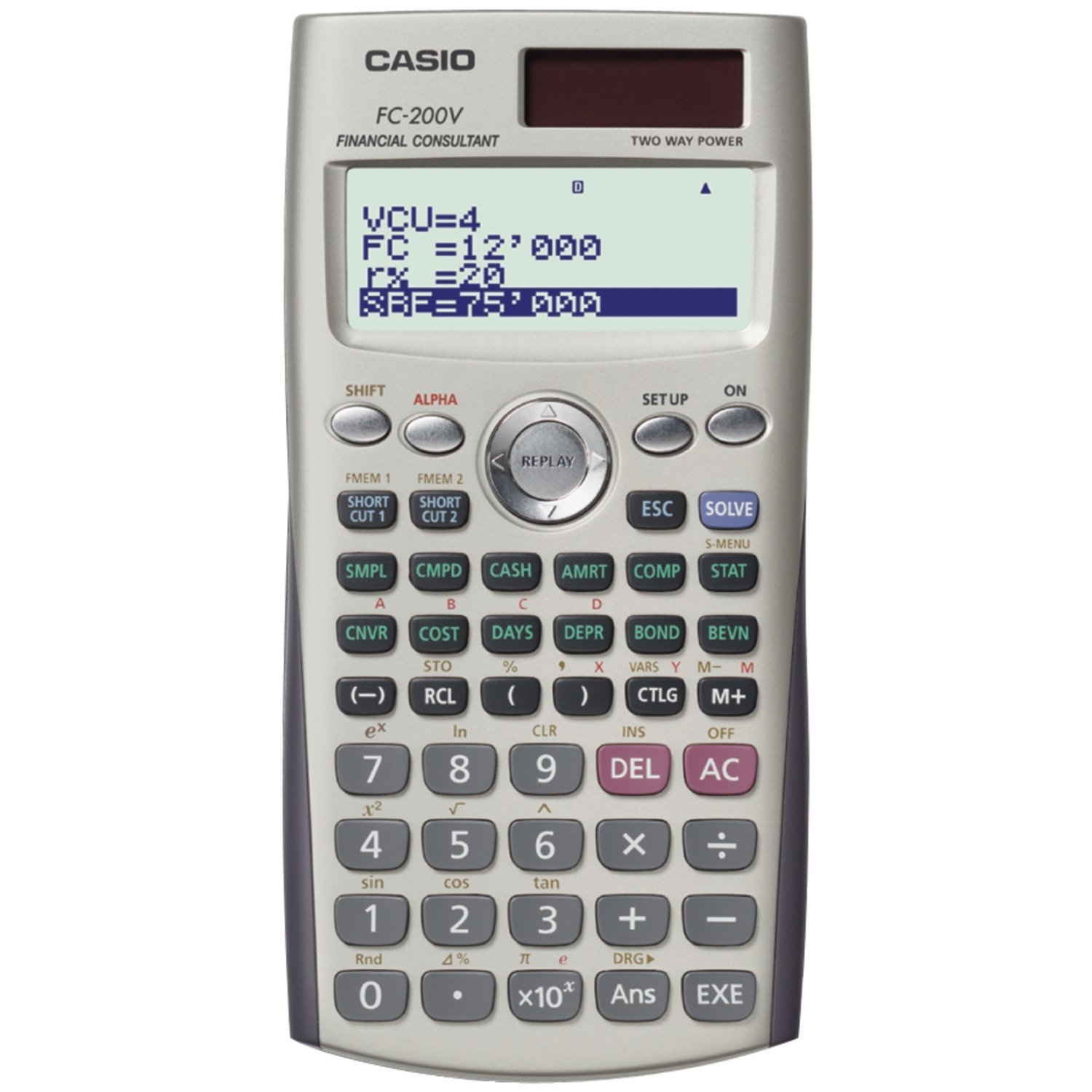 Casio Financial Calculator with 4-Line Display and Slide-On Hard Case