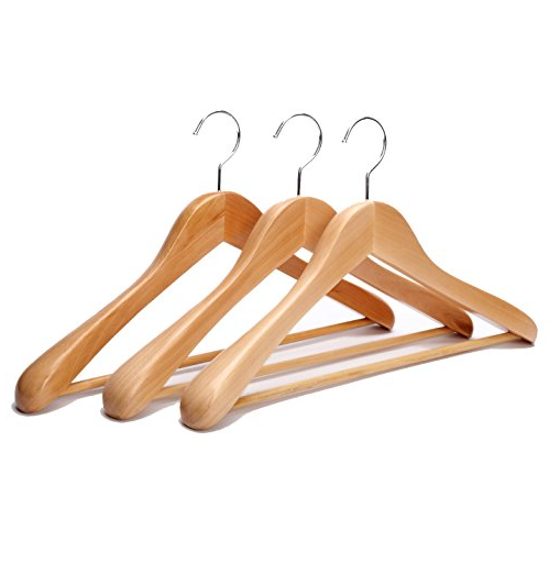J.S. Hanger Extra Wide Rounded Shoulder Wooden Coat Hangers with No-Slip Bar, 3 Pack – Available in 3 Colors