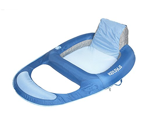 Kelsyus SwimWays Floating Lounger for Pool - Fabric-Covered Inflatable Floating Chair