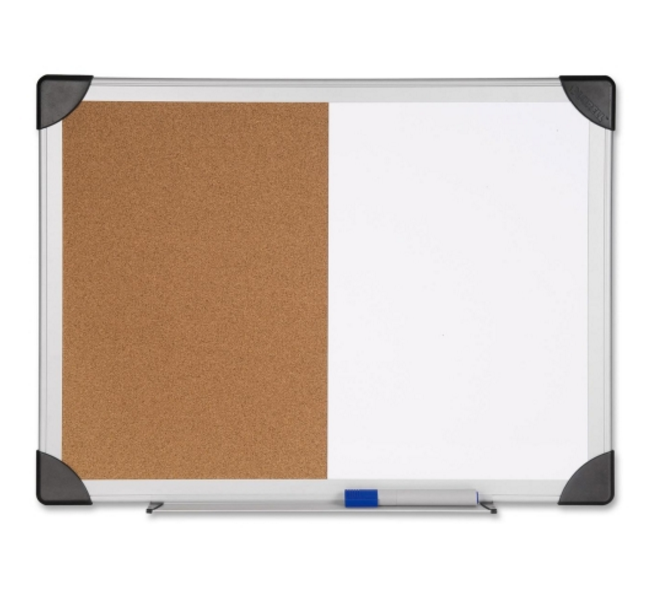 "Lorell Combo Board - 24"" x 36"" Cork/Dry-Erase Board with Aluminum Frame"