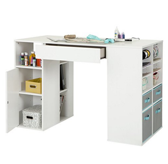 South Shore Crea Counter-Height Craft Table with Storage - Pure White