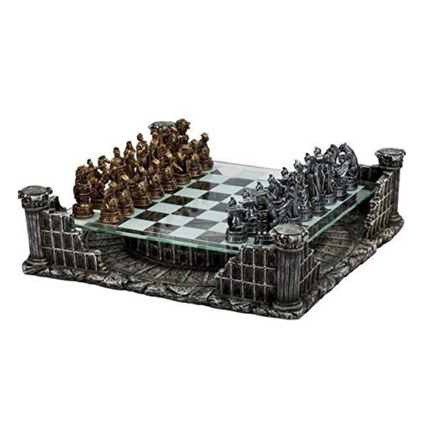 "CHH 16.25"" Roman Gladiators 3D Chess Set, Bronze & Silver Color"