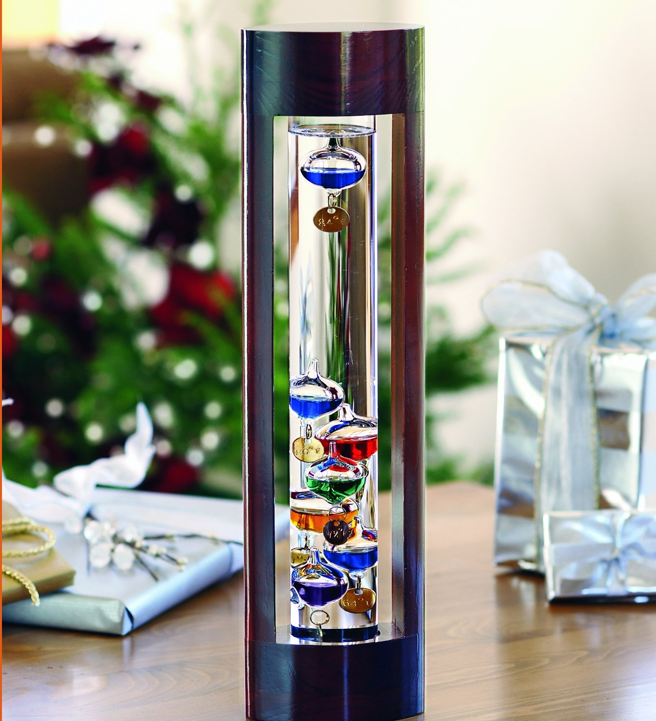 Wind and Weather Galileo Thermometer with Cherry Finish Wood Frame, Compact and Lightweight