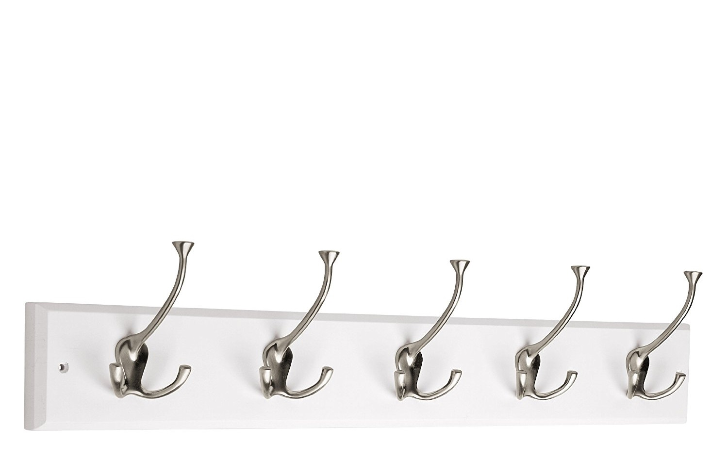 Liberty Hook Rail/Coat Rack with 5 Flared Tri Hooks, 27-Inch, Available in 2 Colors