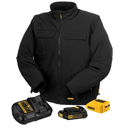 Dewalt 20V/12V MAX Black Heated Jacket Kit with 4 Heating Zones and 5 Pockets, Available in 6 Sizes