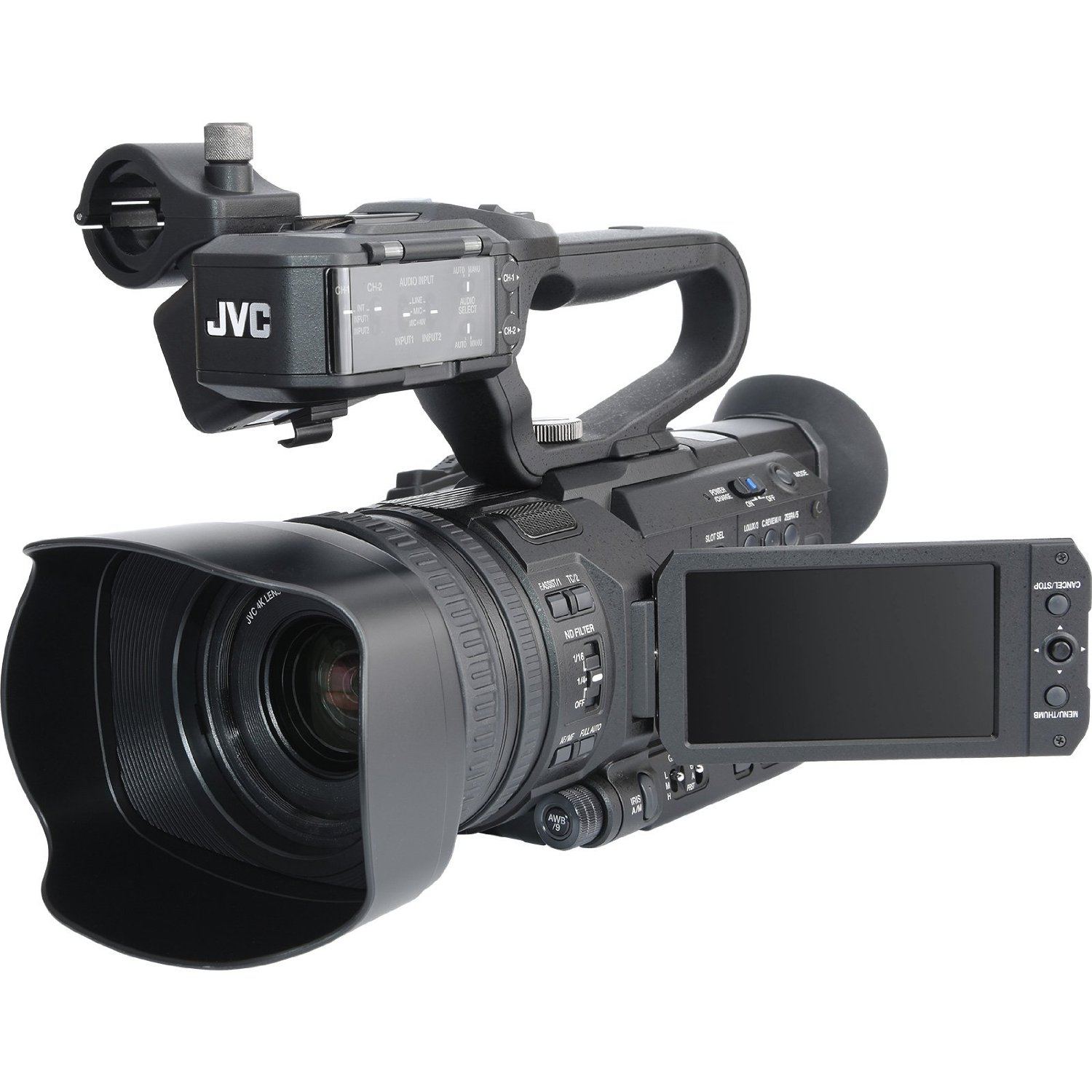 JVC Ultra 4K HD 4KCAM Professional Camcorder & Top Handle Audio Unit with XLR Microphone