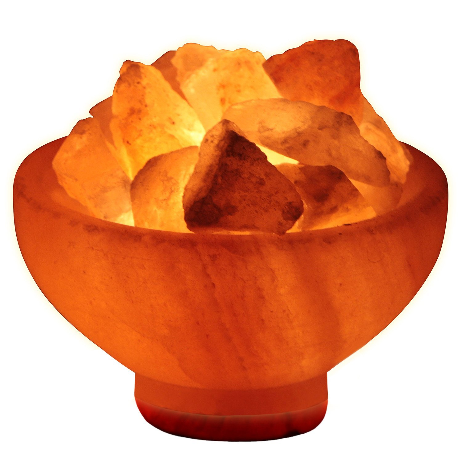 Crystal Allies Gallery Natural Himalayan Salt Fire Bowl Lamp with Rough Salt Chunks & Dimmable Switch