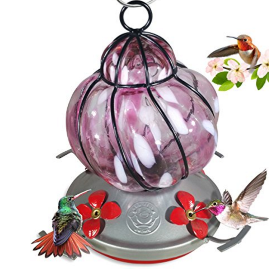 Grateful Gnome Pink Flower Bird Feeder