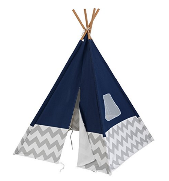 KidKraft Deluxe Play Teepee – Navy/Gray – with Mesh Window