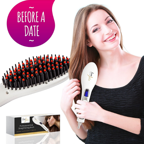FemJolie Electric Hair Straightener Brush
