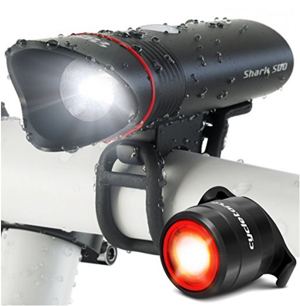 Cycle Torch Shark 500 Super Bright Rechargeable LED Bike Light USB -  500 Lumens, Free Taillight Included, Fits ALL Bikes, Hybrid, Road, MTB, Easy Install & Quick Release