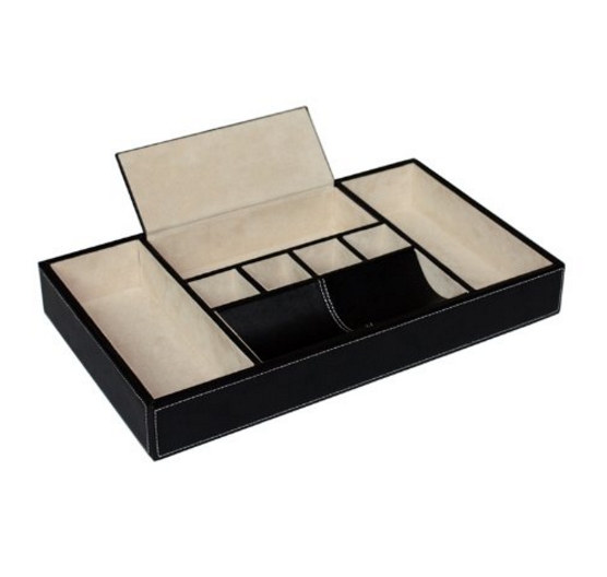 Timely Buys Black Leatherette Valet Tray