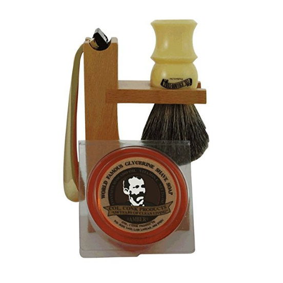 Colonel Conk Hardwood Stand Shave Set