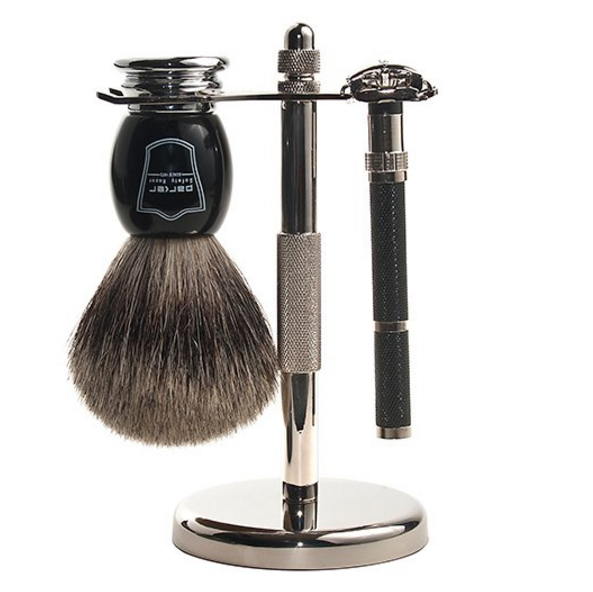 Parker Razor Shave Set - Includes Pure Badger Brush, Stand & Parker 96R Butterfly Open Safety Razor