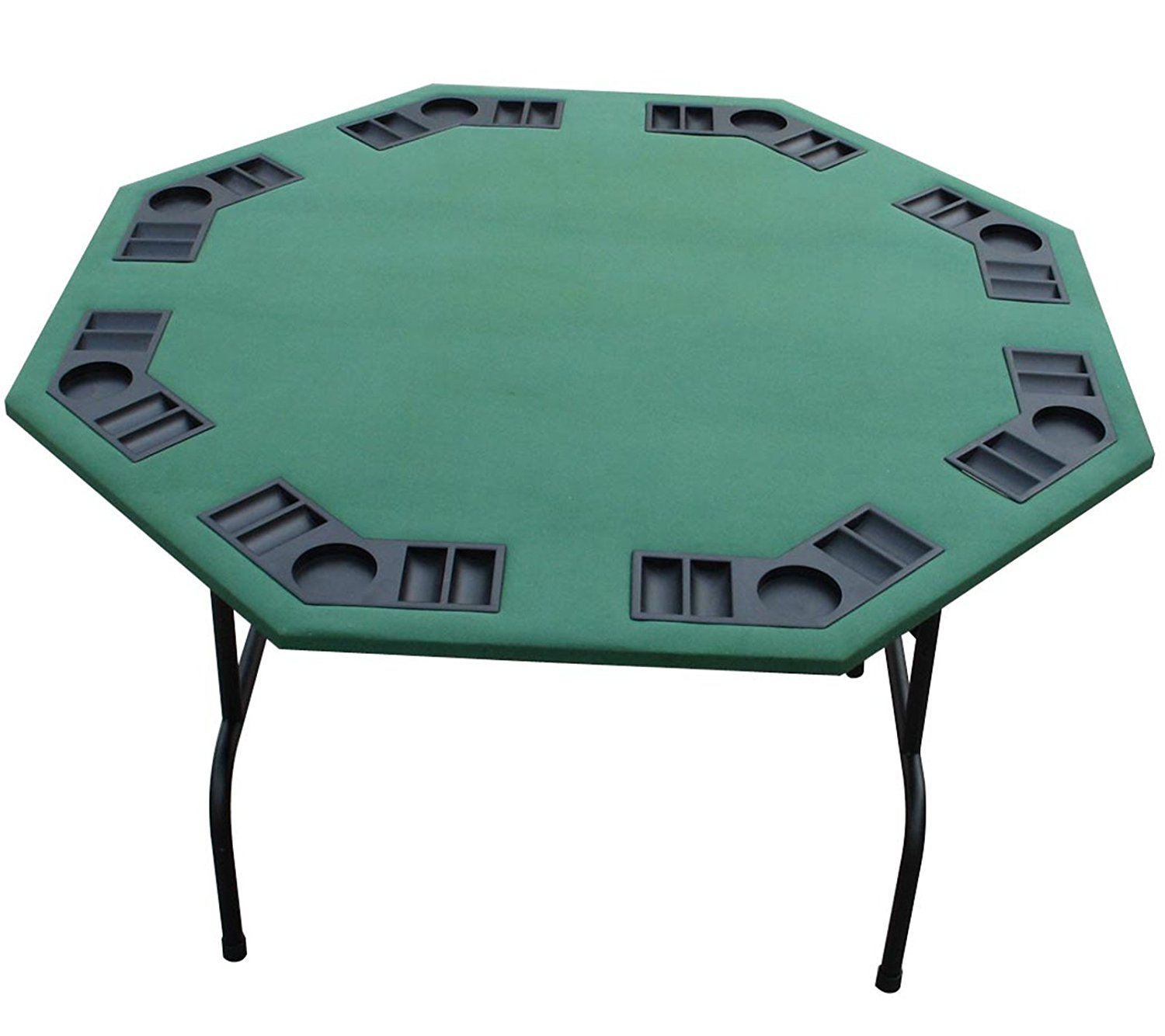 "Poker Outlet 52"" Green Felt Octagon Poker Card Game Table with Folding Steel Legs"