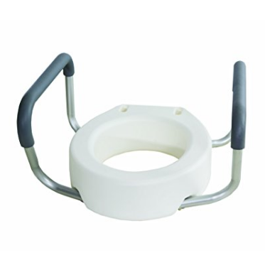 Essential Medical Supply Elevated Toilet Seat Riser with Removable Arms – Available in 2 Shapes