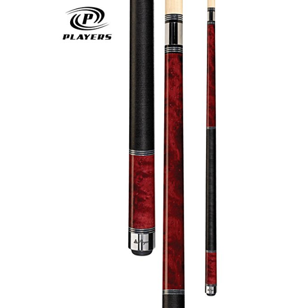 Players Classic Crimson Birds-Eye Maple with Triple Silver Rings Cue – Available in 7 Weights