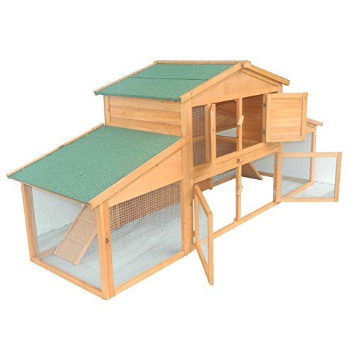 Pawhut Deluxe Large Wooden Rabbit Hutch