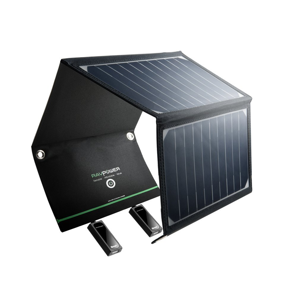 RAVPower 16-Watt Solar Charger with Dual iSmart USB Ports