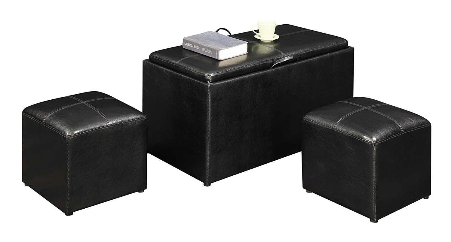 Convenience Concepts Designs4Comfort Ottoman - Sheridan Storage Bench with 2 Side Ottomans, 5 Colors Available