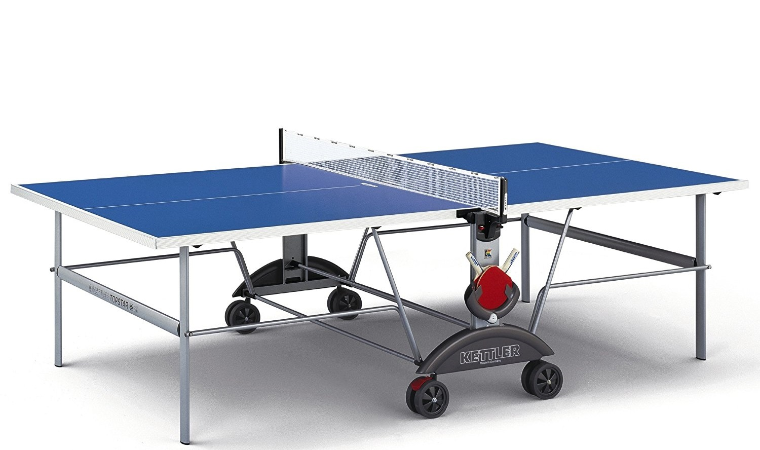 Kettler Top Star XL Indoor/Outdoor Waterproof Table Tennis Table - Includes 4 Wheels and Space Saver Technology