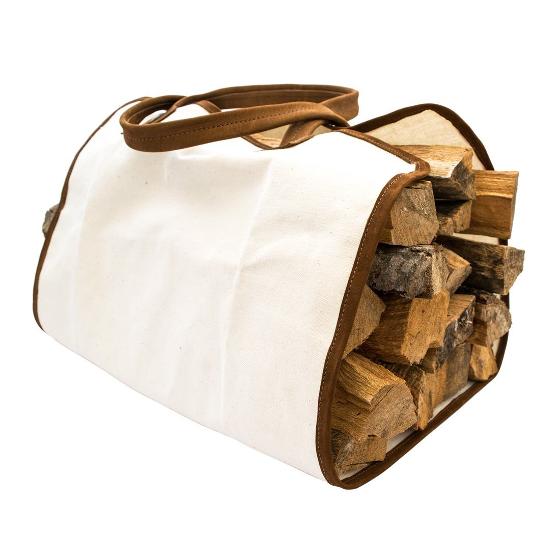 Hide & Drink Durable Canvas Firewood Bag With Leather Liner Handmade – 3 Color/Material Options