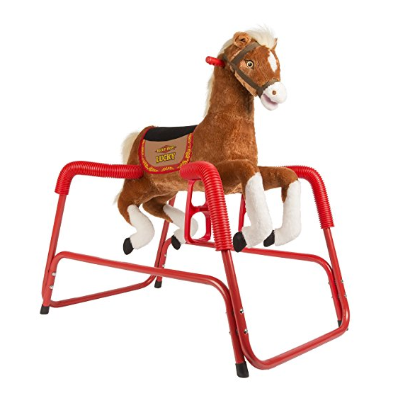 Rockin' Rider Lucky Talking Plush Spring Horse with 3-Position Stirrups