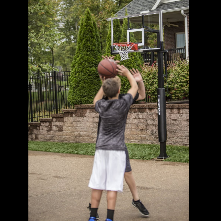 "Silverback In-Ground Basketball System with 60"" Glass Backboard"
