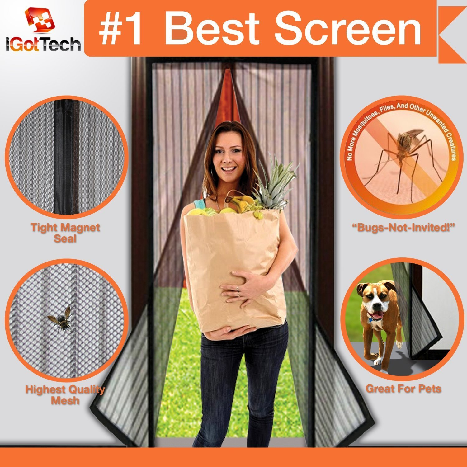 "iGotTech Magnetic Screen Door, Full Frame Velcro - Fits Door Openings up to 34"" x 82"" MAX"