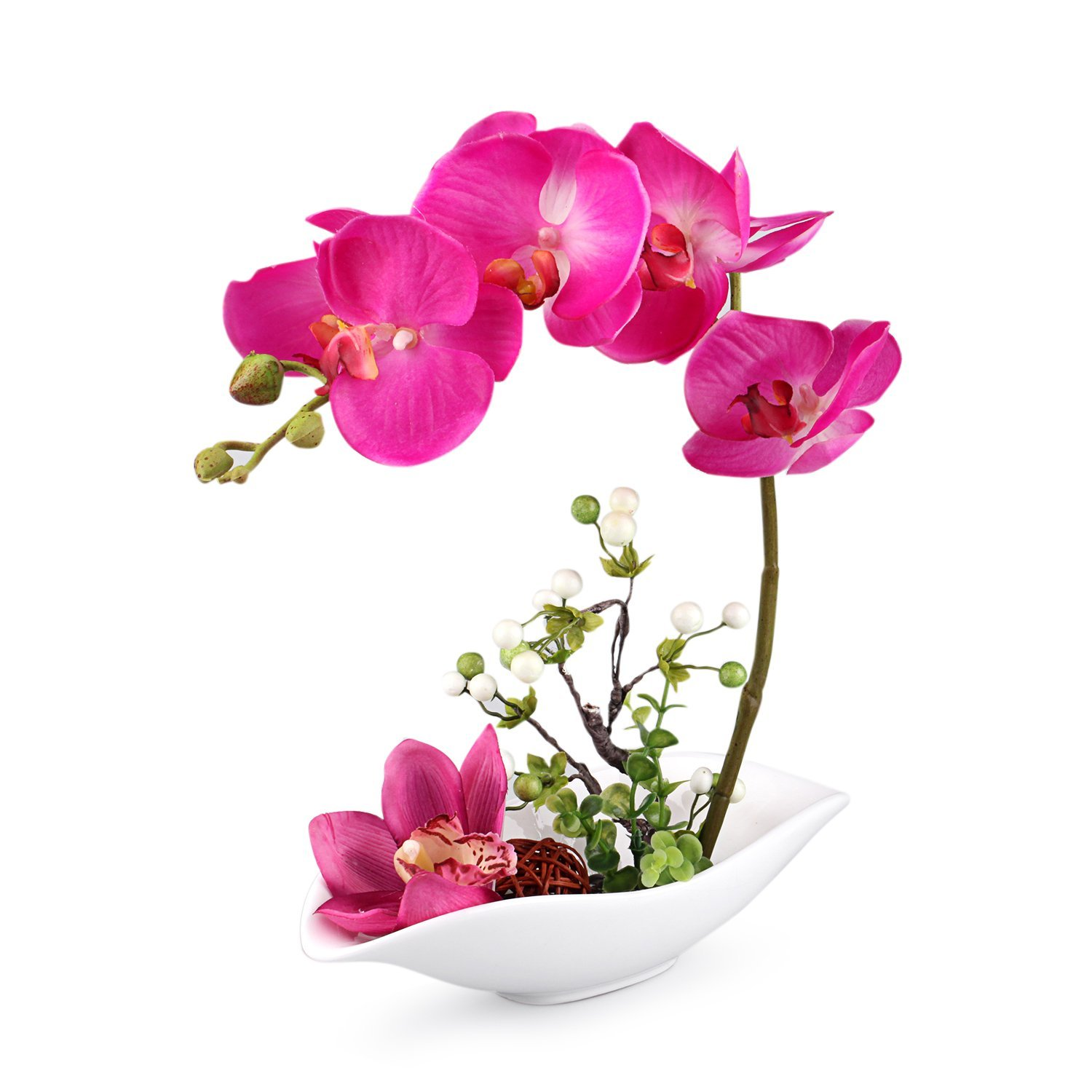 Louis Garden 7 Head Artificial Flowers - Phalaenopsis Bonsai Simulation, Available in 4 Colors