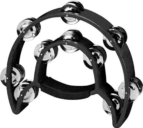 YMC Double Row Tambourine – 20 Metal Jingles, Hand Held Percussion, Ergonomic Handle