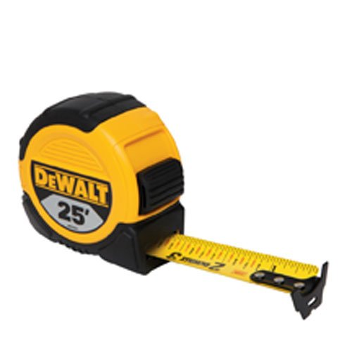 DEWALT 1 and 1/8-Inch x 25-Foot Short Tape - Duo-Durometer Blade-Loc, 10-Foot Stand Out, Mylar Blade Coating