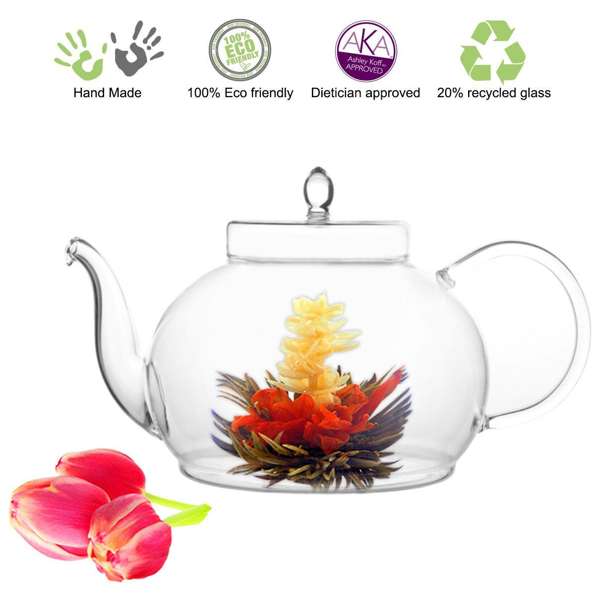 Tea Beyond Blooming Tea Non-Drip Lead-Free Glass Teapot – Available in 6 Sizes in a Variety of Designs