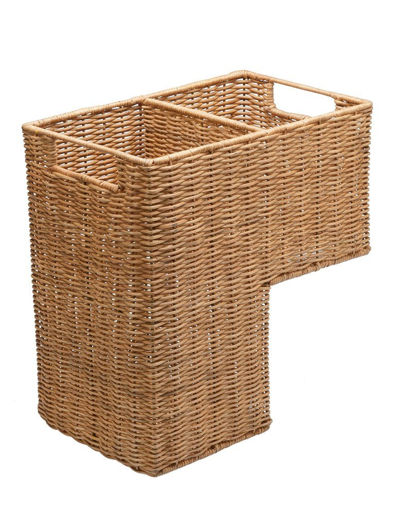 Kouboo Wicker Step Basket in Natural Color with 2 Compartments