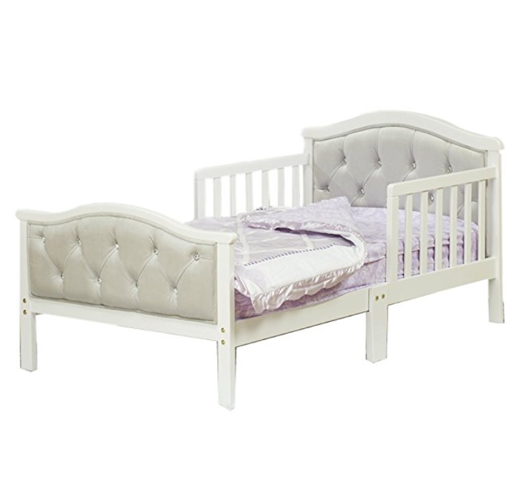 Orbelle Trading Padded Toddler Bed – French White (Other Color Options Available)