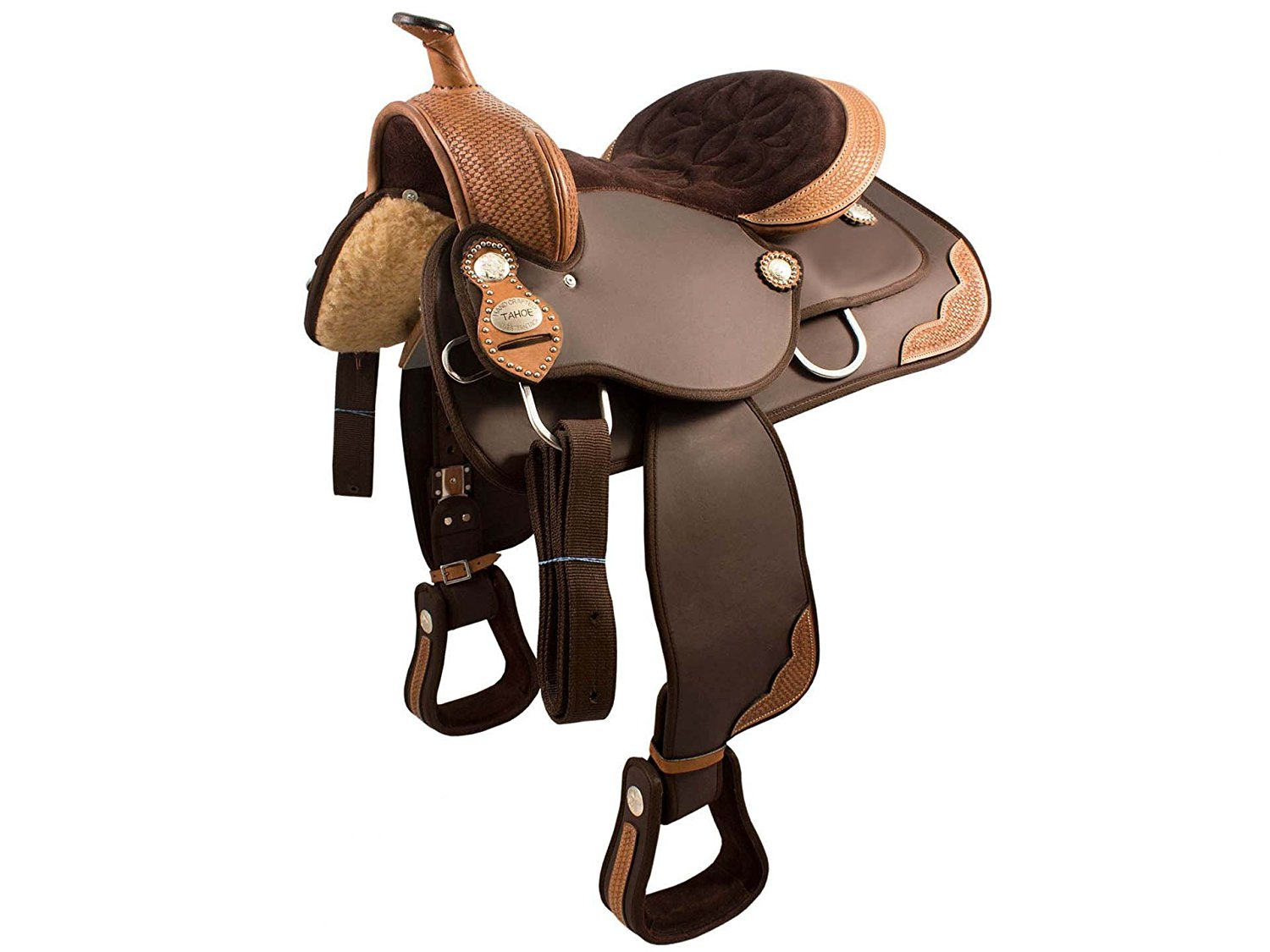 Tahoe Synthetic Western Saddle with Basket Weave Leather Trims – Comes in 5 Sizes