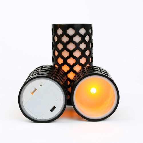 Lamplust Moroccan Gate Flameless Wax LED Candles With Timer with Batteries Included