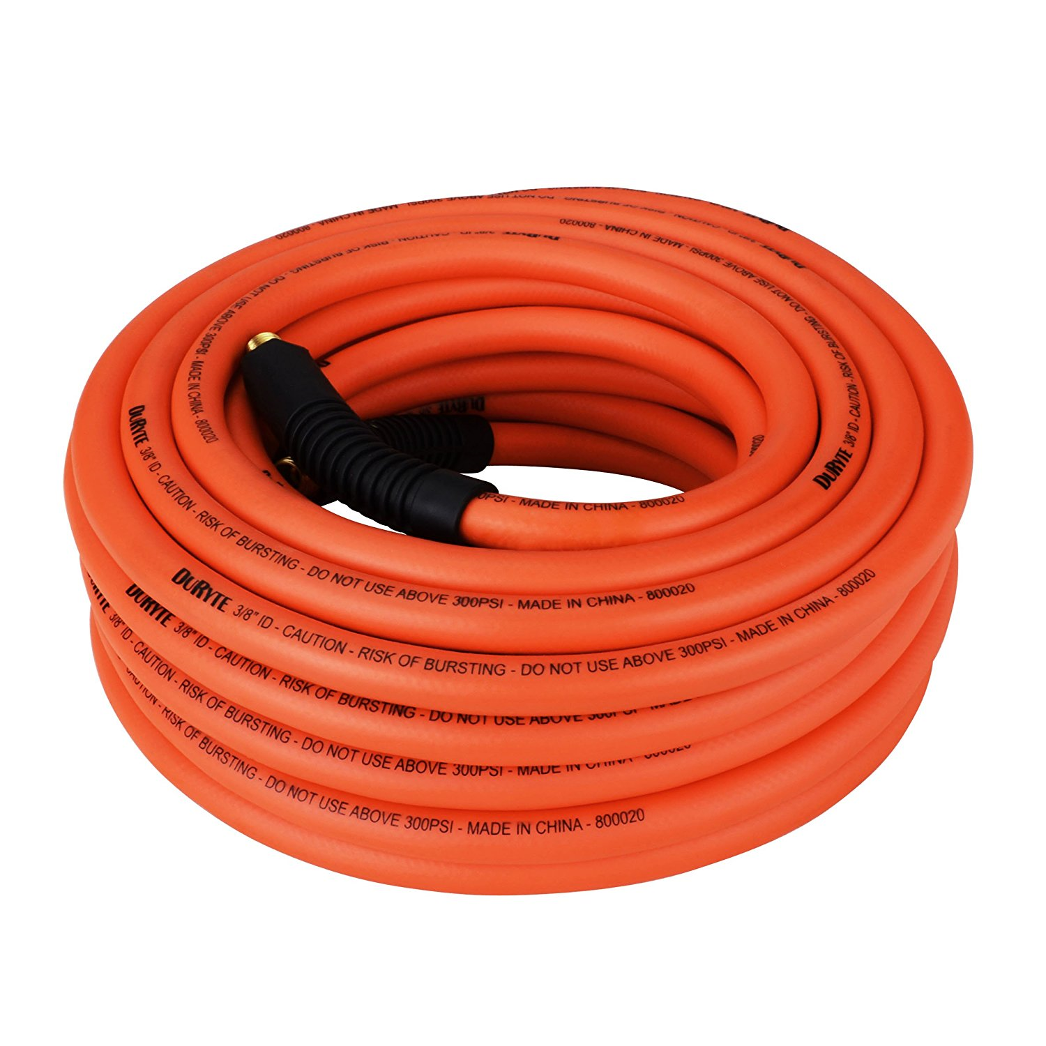 DuRyte Pro 300 PSI Hybrid Air Hose - MNPT Brass Ends, PVC/Rubber Construction, 3/8-Inch by 50-Feet