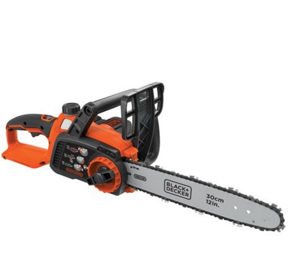 "Black & Decker 12"" Chainsaw – 40 MAX Lithium, Auto-Oiling, Tool-less Tensioning"