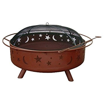 Landmann Super Sky Fire Pit - Stars and Moon, Includes Full Cover Spark Guard, Steel Construction