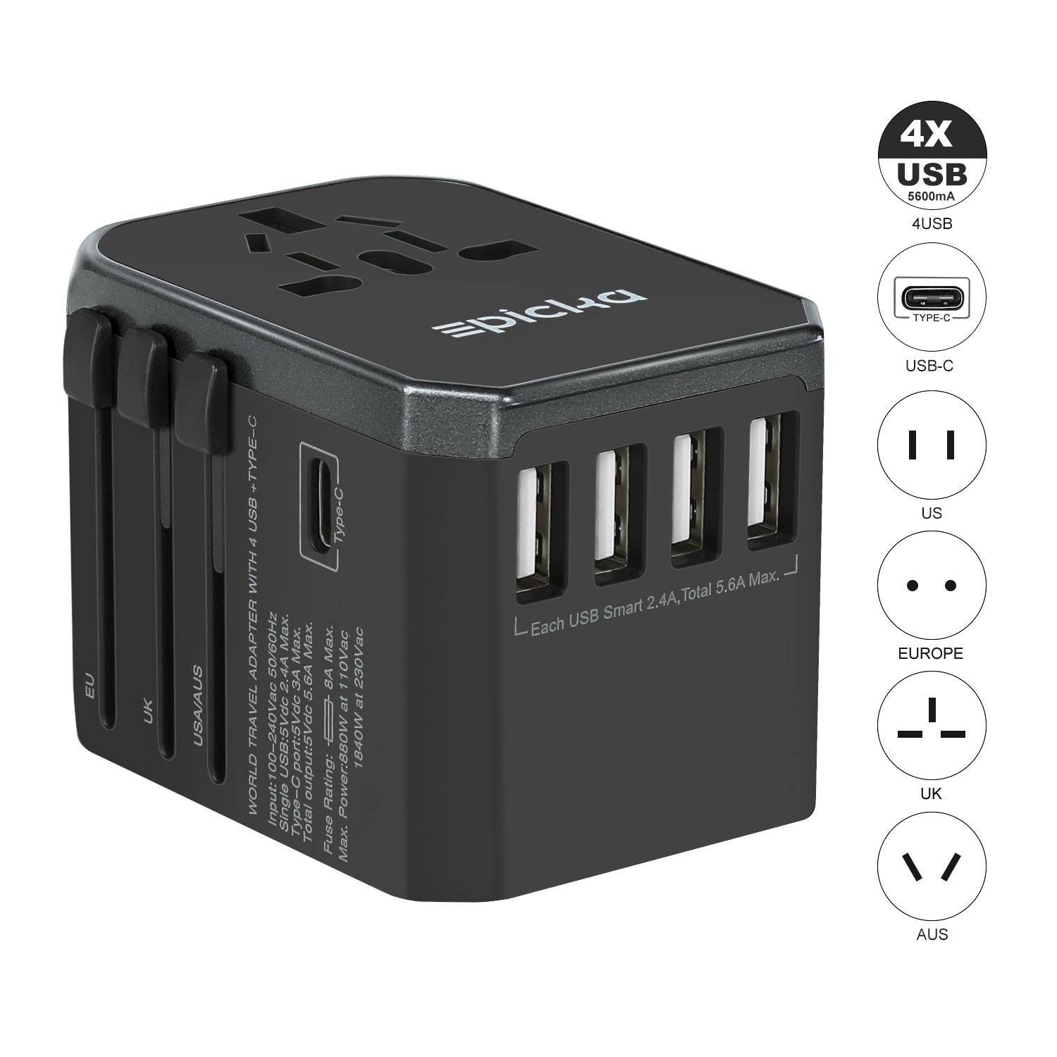 EPICKA Universal Travel Power Adapter International Charger