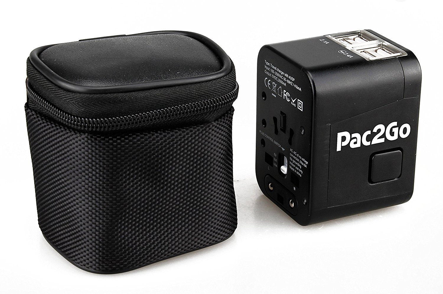 Pac2Go Universal Travel Adapter with Quad USB