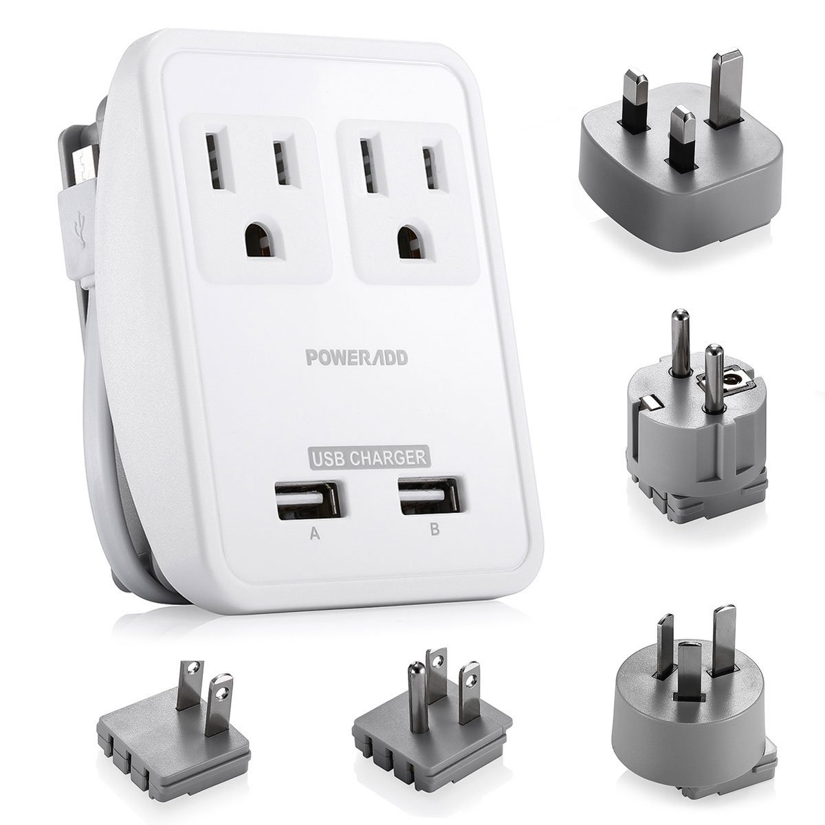 Poweradd 2-Outlet International Travel Plug Adapter with Wrapped Cord Design