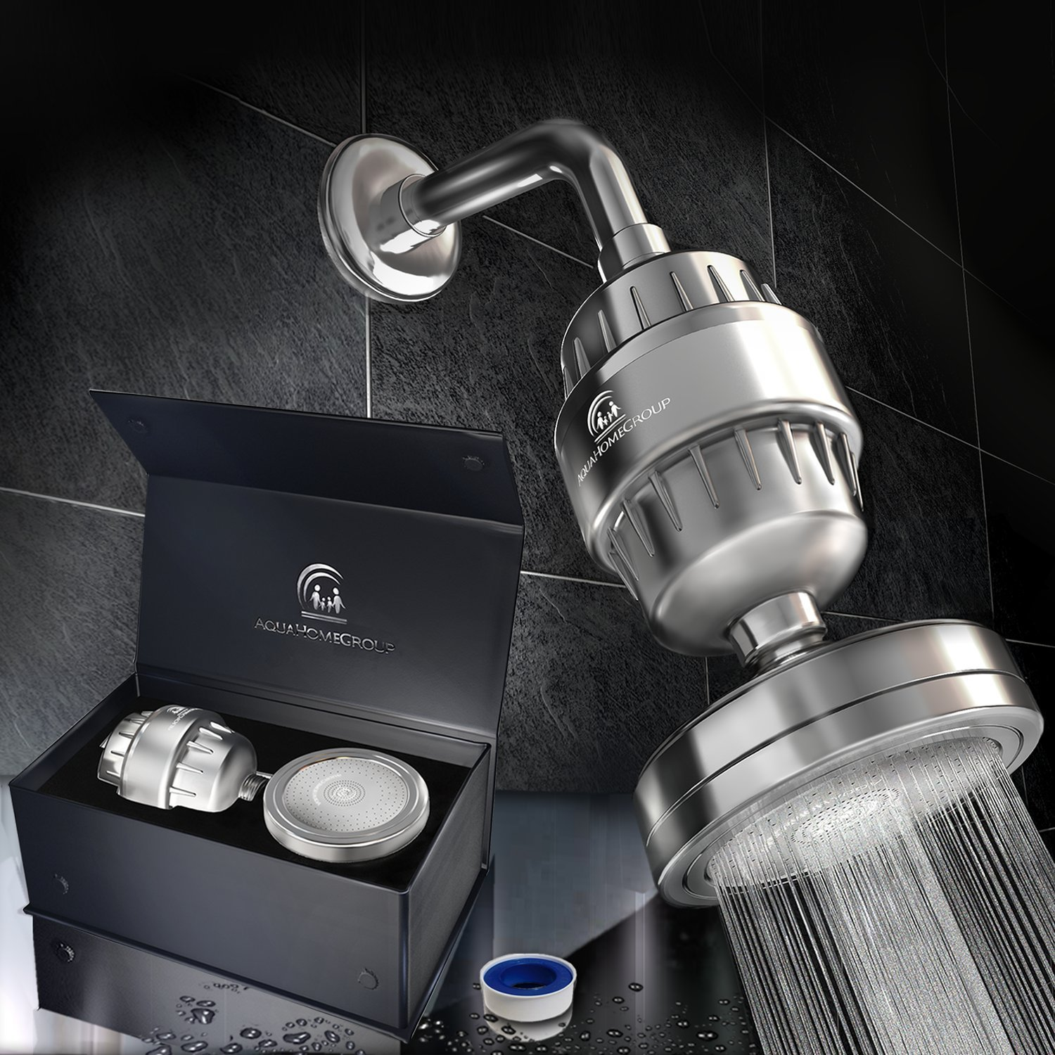 AquaHomeGroup Luxury Filtered Shower Head - Equipped with Vitamin C &E Cartridge, Reduces Chlorine & Sediments, Consistent Water Pressure