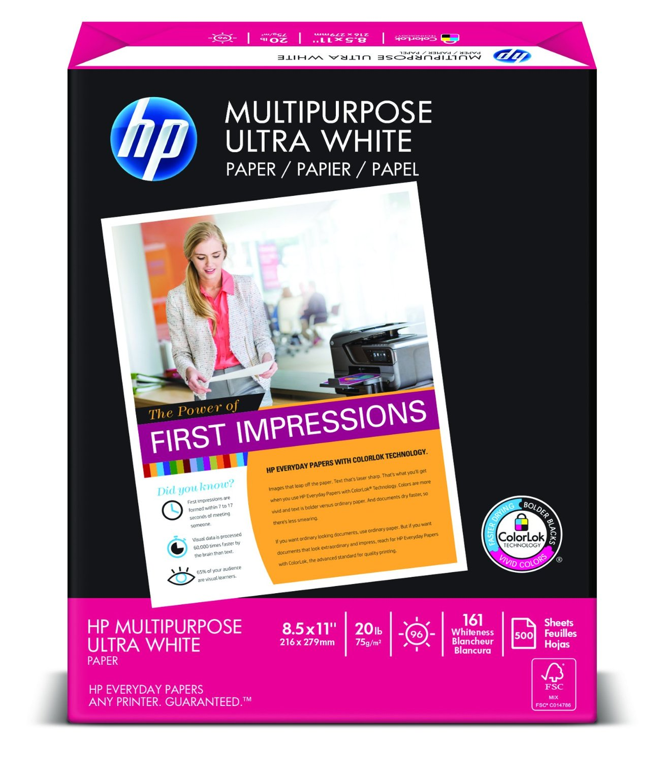 "HP Multipurpose Ultrawhite Letter Paper, 8.5 x 11"", 96 Bright with 20 Pounds Basis Weight – Available in 2 Sizes"