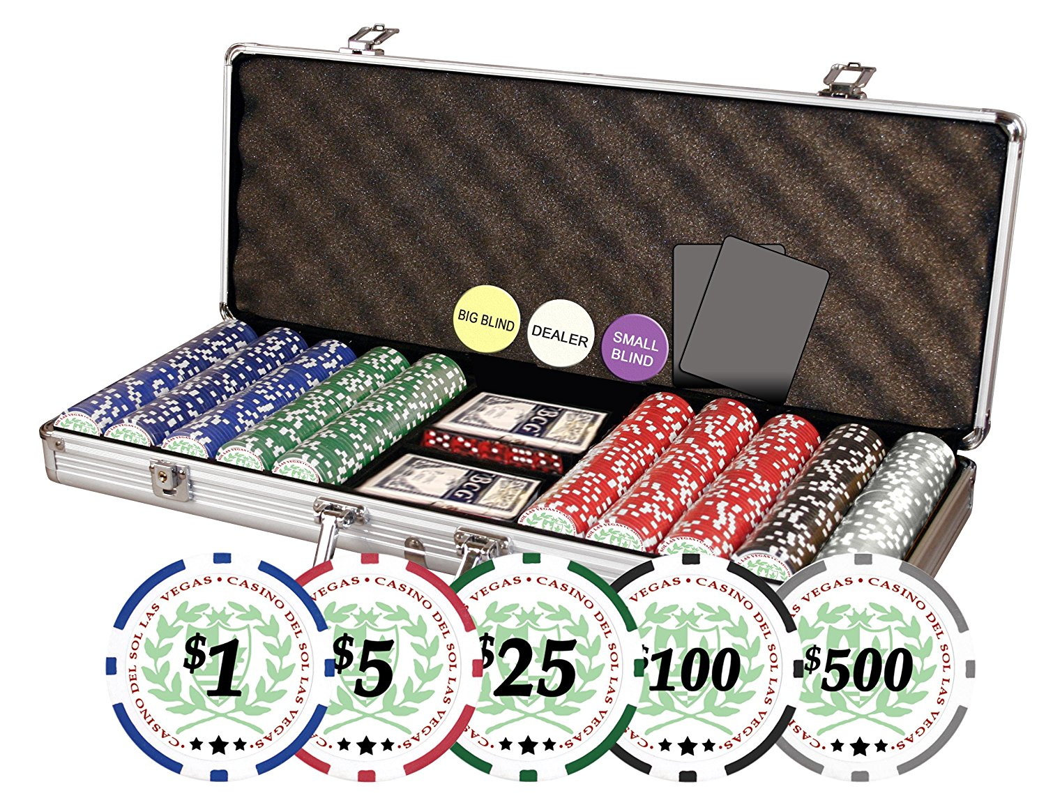 Da Vinci Professional 11.5gm Casino Del Sol Clay Poker Chips with Case - Set of 500, Includes Dealer Buttons, Cut Cards and Playing Cards